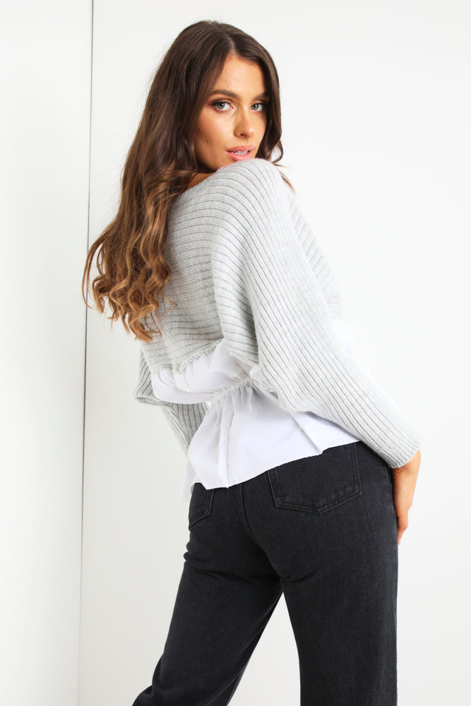 Grey Ruched Shirt Knit