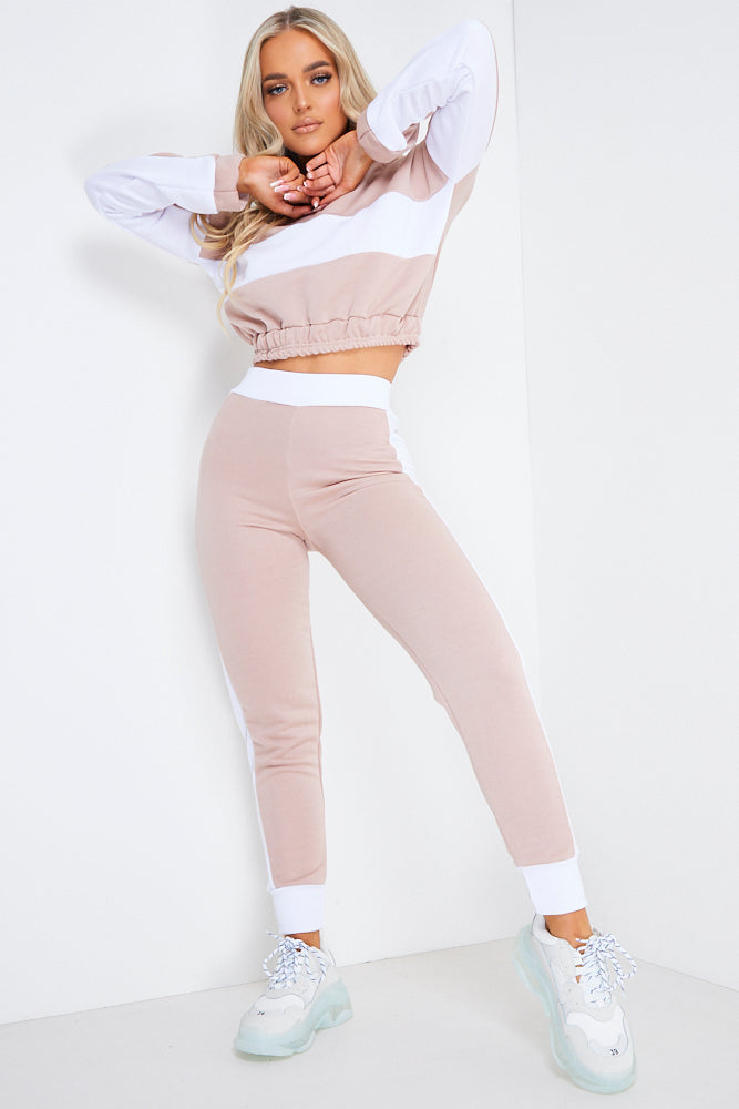 Nude Cropped Loungewear Jogger Set