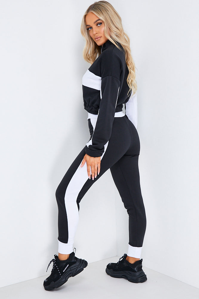 Black Cropped Loungewear Jogger Set