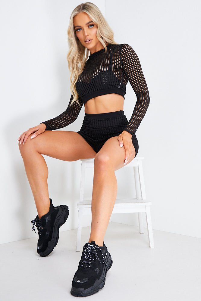 Black Mesh Shorts And Crop Top Co ord Set