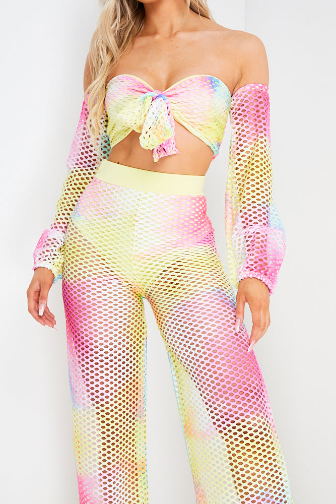 Multi Coloured Tie Dye Mesh Trouser And Bardot Top Co ord Set