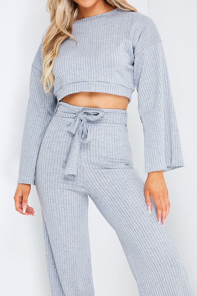 Grey Wide Leg Trouser And Crop Jumper Co ord Set