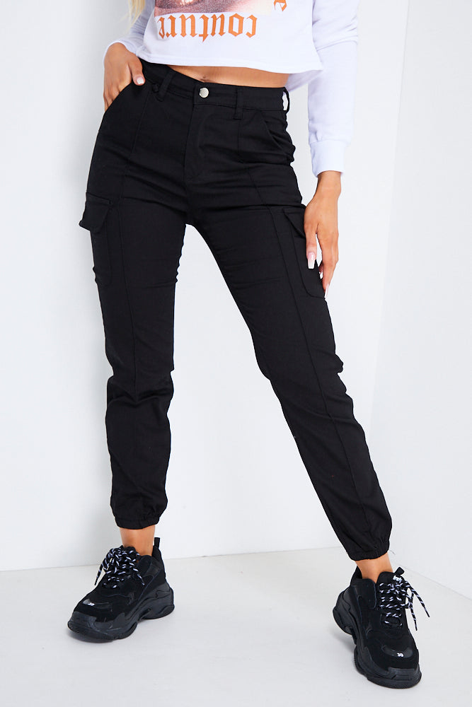 Black Pocket Detail Cargo Trousers