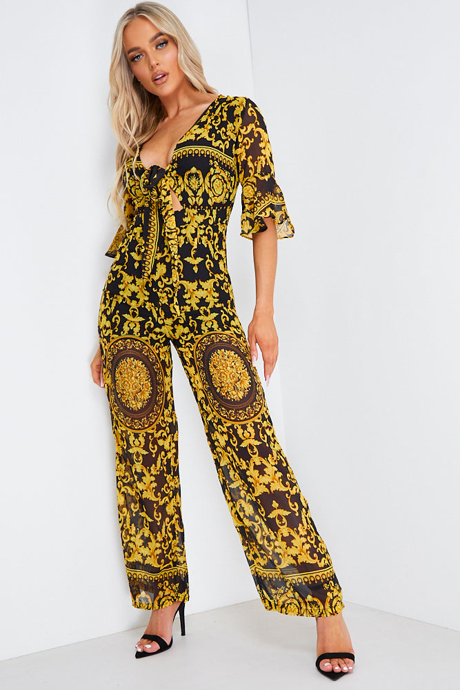 Black and Gold Baroque Tie Front Jumpsuit