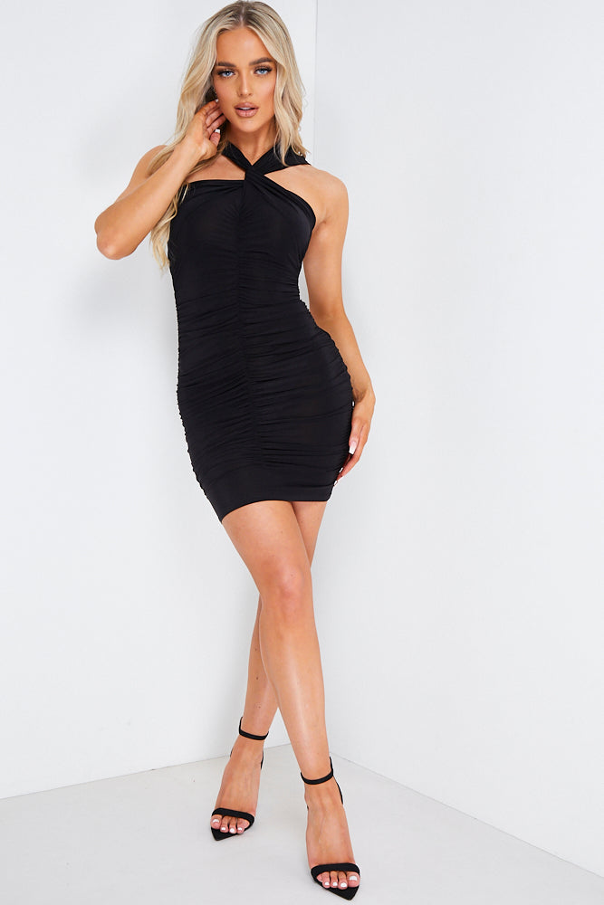 Black Twist Ruched Bodycon Mini Dress