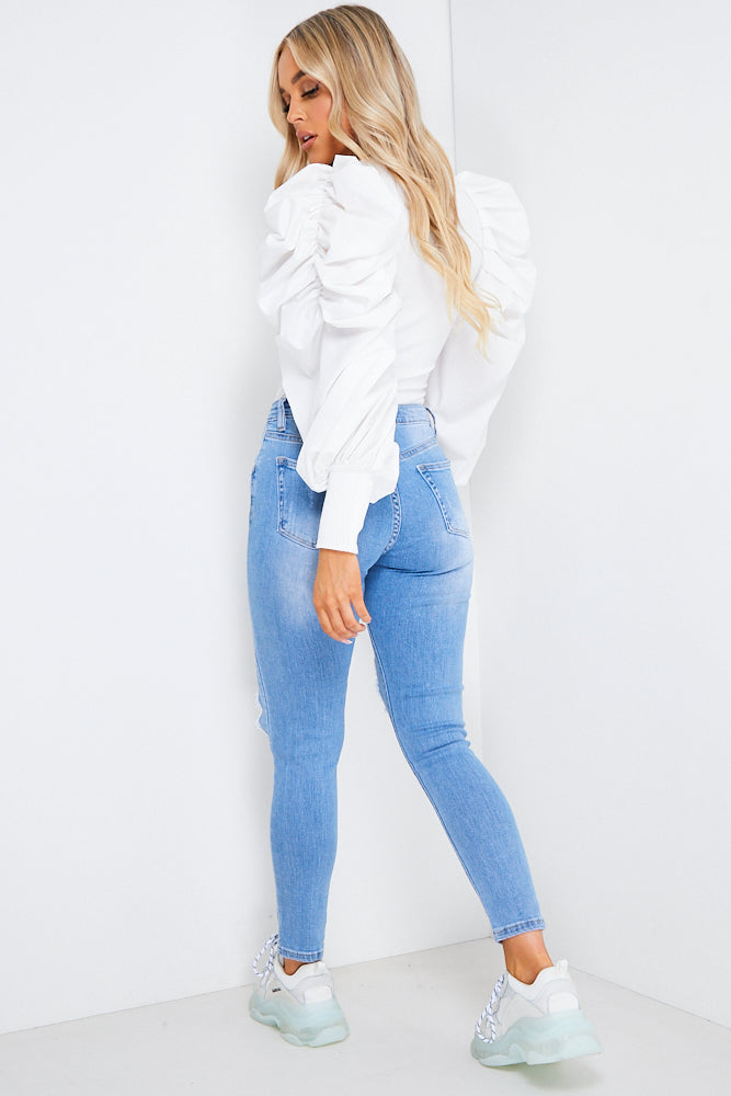 Blue Diamante Detail Ripped Skinny Jeans