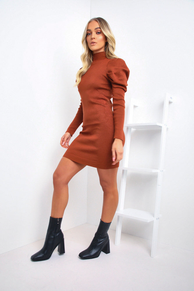 Rust Ribbed Puff Sleeve Dress