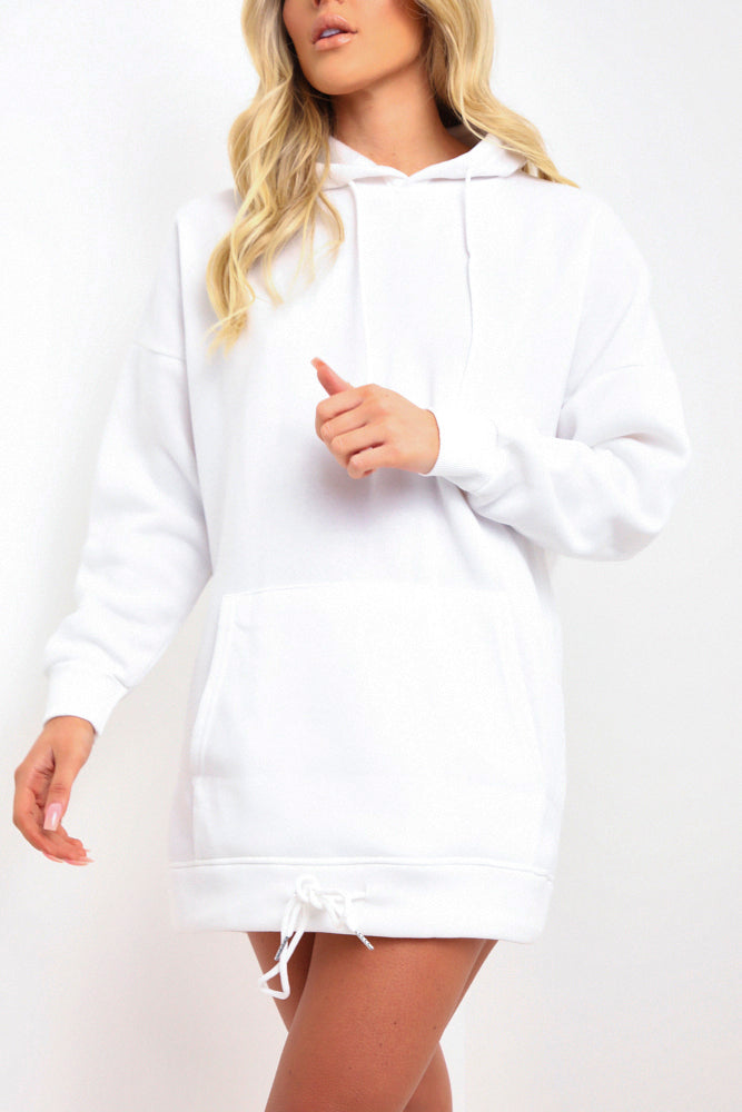 White Hooded Sweatshirt Dress
