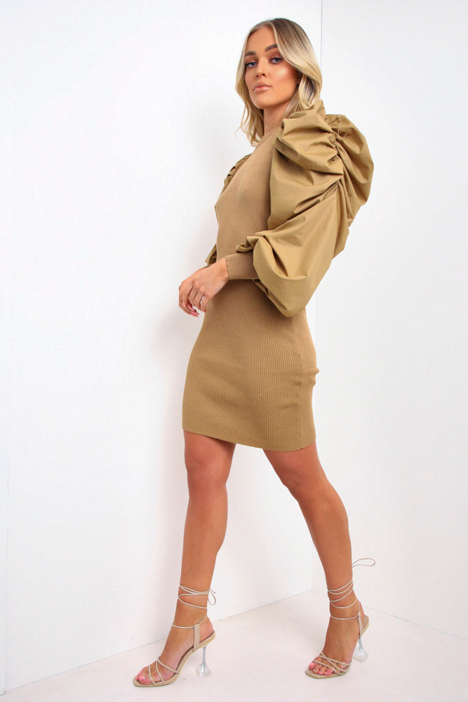 Camel Ribbed Puff Sleeve Mini Dress