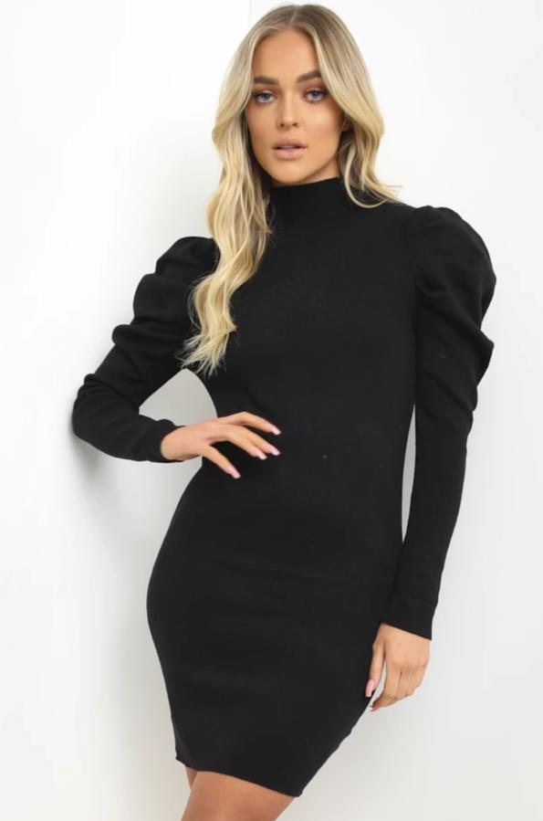 Black Ribbed Puff Sleeve Dress