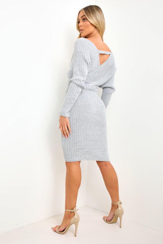 Grey Wrap Front Knit Midi Dress