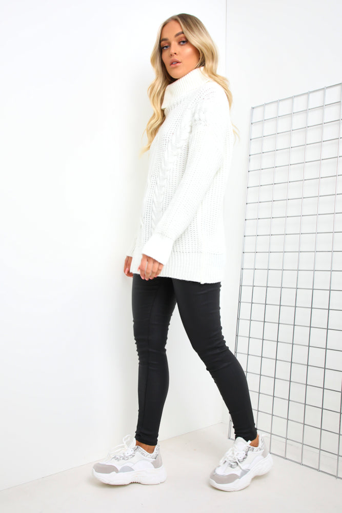 Cream Roll Neck Cable Knit Jumper