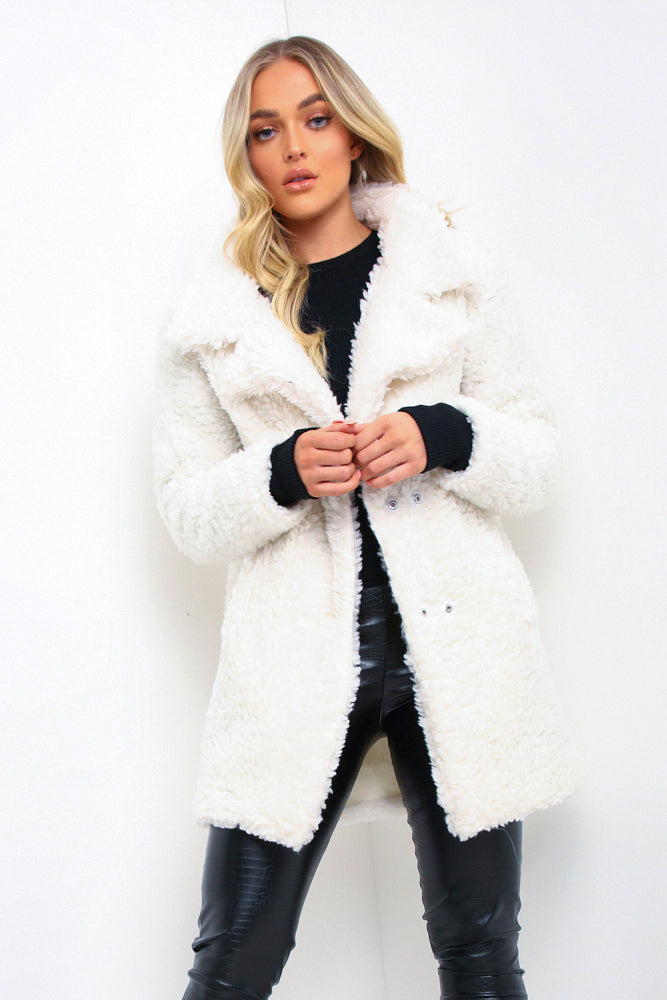 Cream Longline Borg Teddy Coat