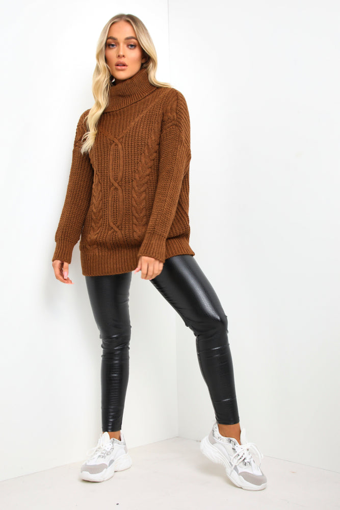 Brown Roll Neck Cable Knit Jumper