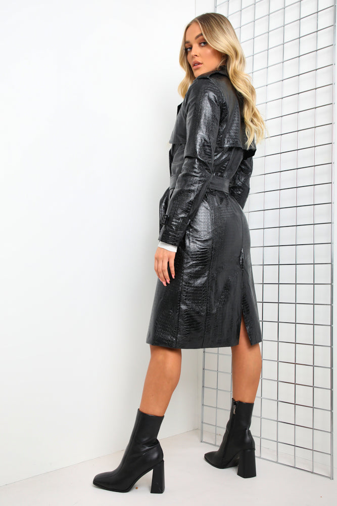 Black Croc Faux Leather Trench Coat