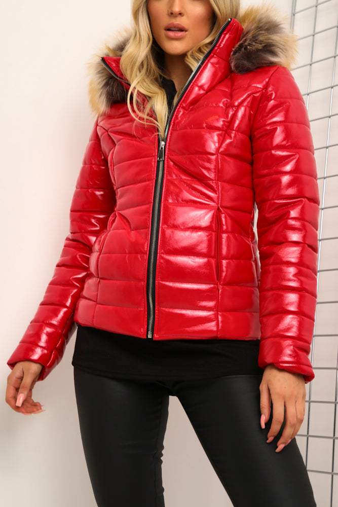 Red Wet Look Faux Fur Hooded Puffer Coat