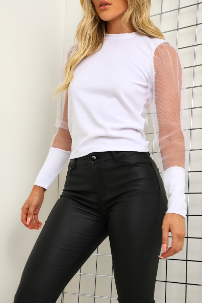 White Fishnet Puff Sleeve Top