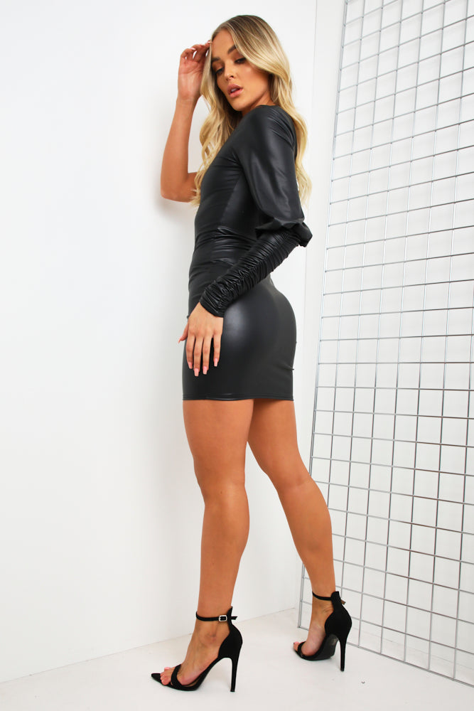 Black Faux Leather Ruched One Shoulder Mini Dress