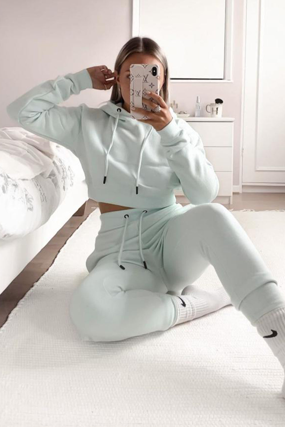 Mint Cropped Hoodie and Joggers Tracksuit Set