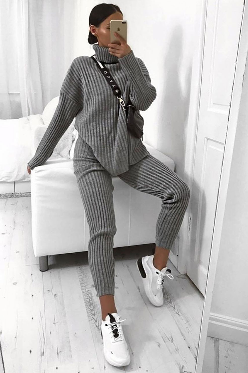 Grey Oversized Roll Neck Co-Ord