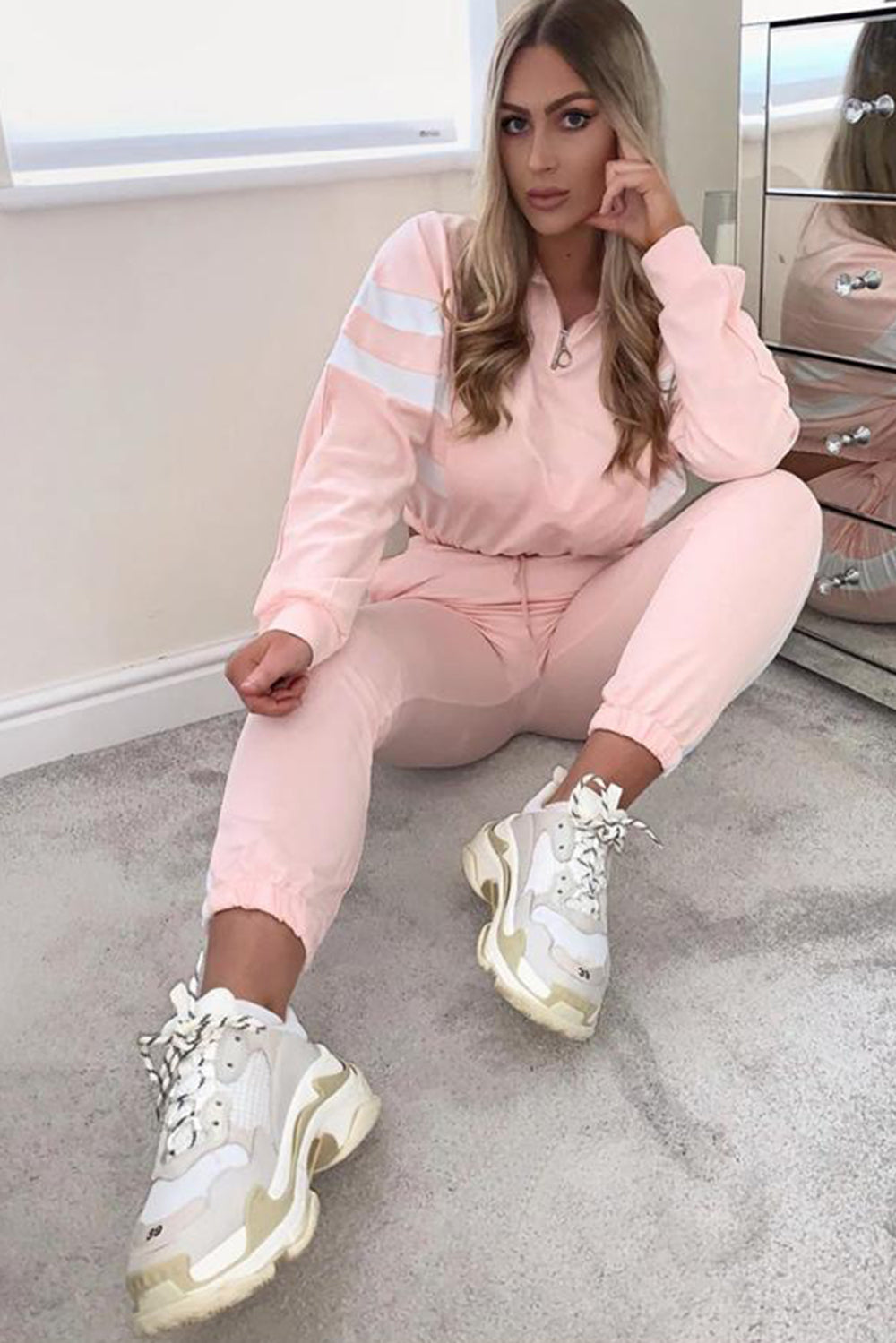 Nude & White Stripe Cropped Hoodie and Joggers Tracksuit Set