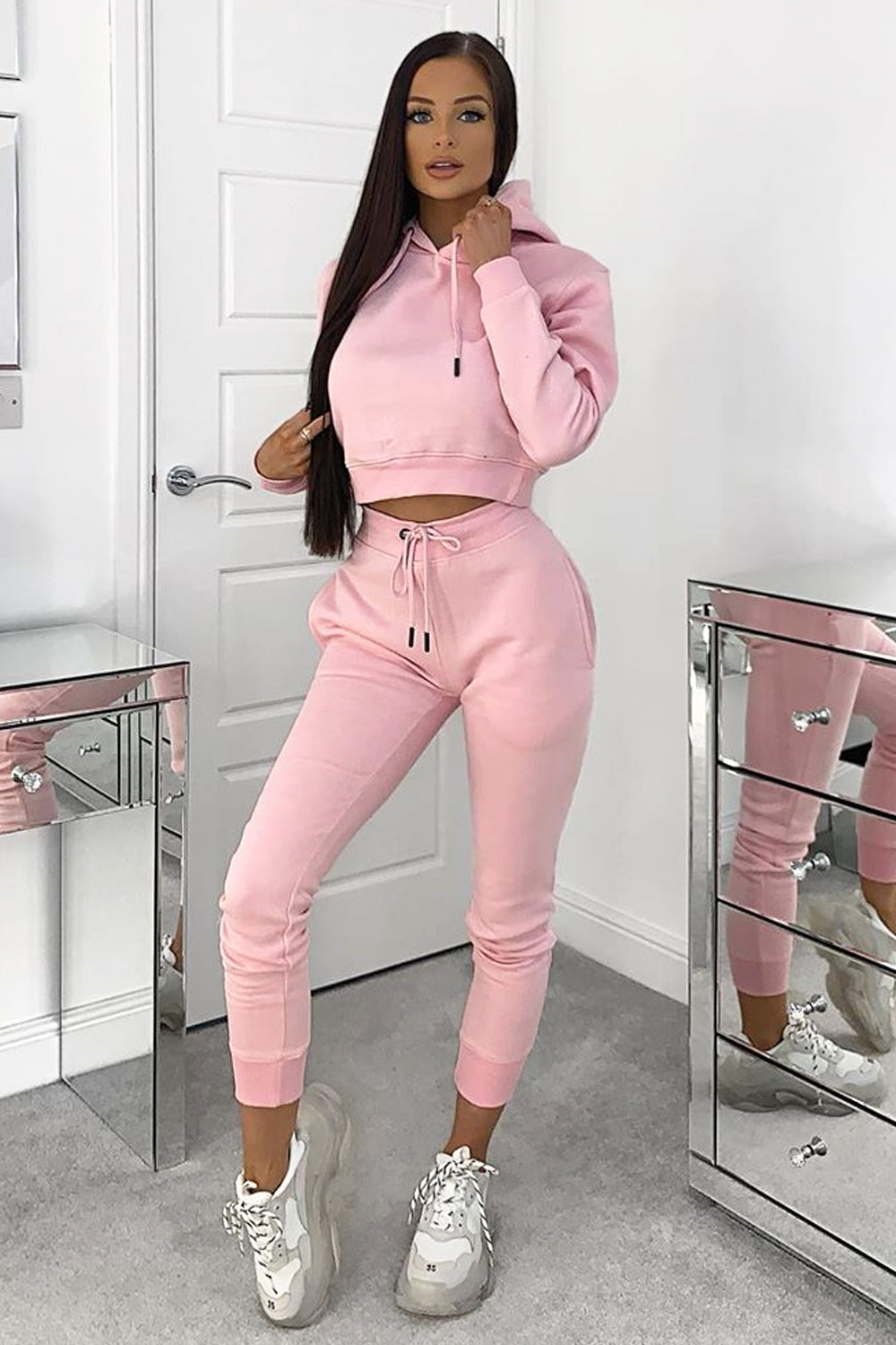 Light Pink Cropped Hoodie and Joggers Tracksuit Set