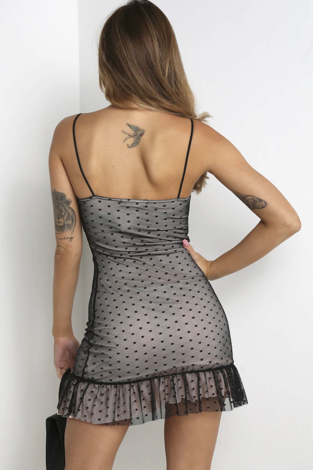 Black Mesh Dobby Print Frill Dress