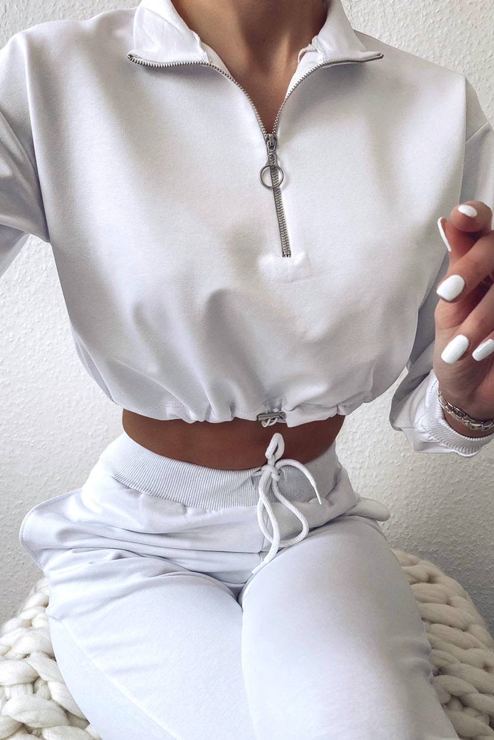 White Ring Zip Top and Joggers Tracksuit Set