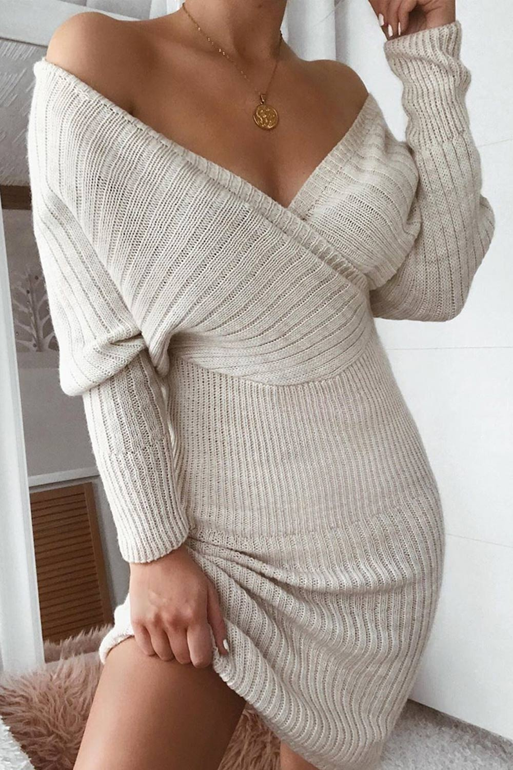 Stone Wrap Front Knit Midi Dress