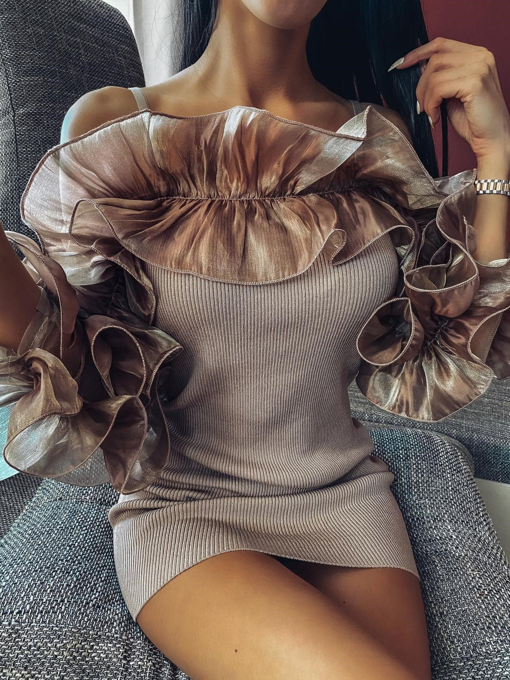 Nude Ribbed Extreme Ruffle Bodycon Dress
