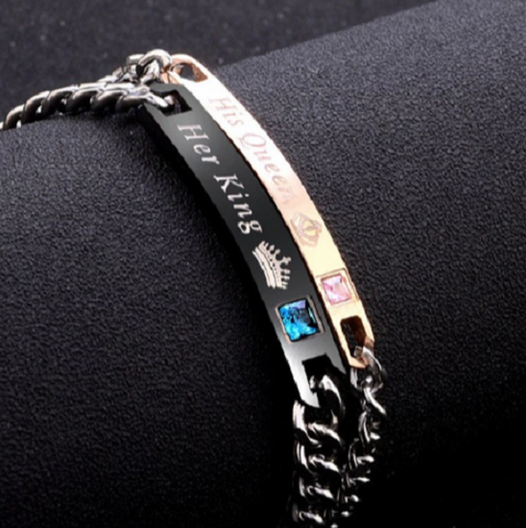 "Armband Set: ""Her King- His Queen""-Stahl"
