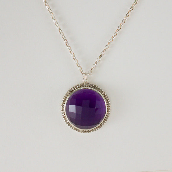 Round Checkerboard Large Amethyst Pavé and Diamond Necklace