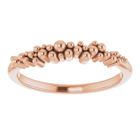 14K Rose Stackable Scattered Bead Ring