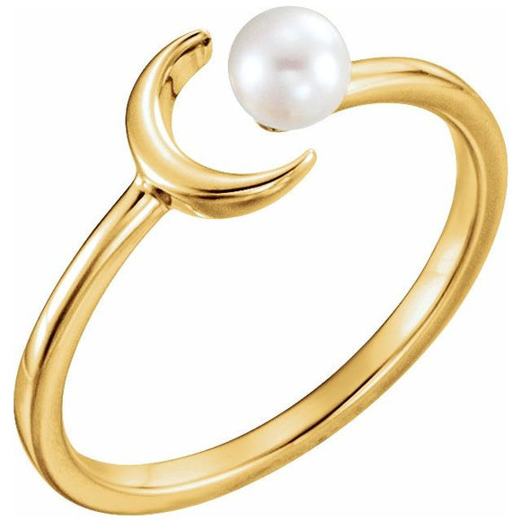 14K Yellow Cultured Freshwater Pearl Crescent Moon Ring
