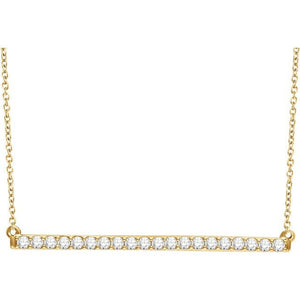 "14K Yellow 1/6 CTW Diamond Bar 16-18"" Necklace"