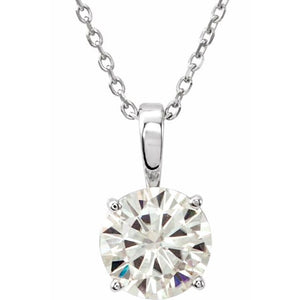 "14K White 5 mm Round Forever One™ Moissanite 18"" Necklace"