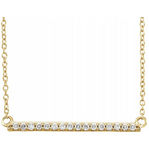 14K Yellow 1/6 CTW Diamond Bar Necklace