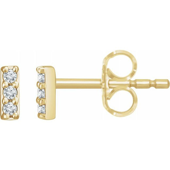 14K Gold .05 CTW Diamond Bar Earrings