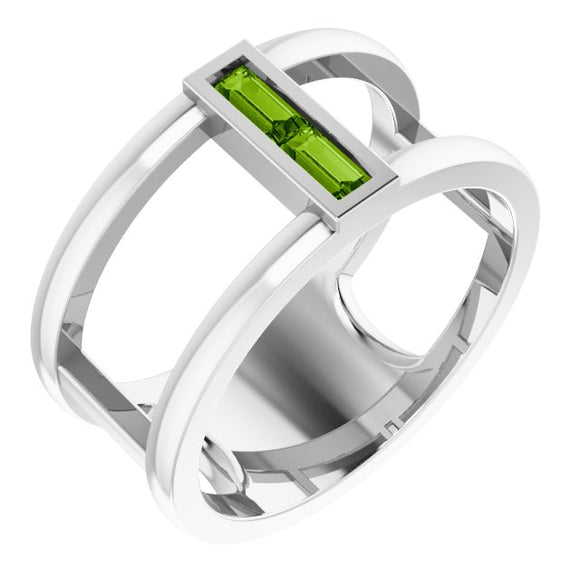 Sterling Silver Peridot Baguette Ring