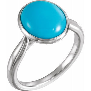 Sterling Silver 8x6 mm Oval Cabochon Turquoise Ring