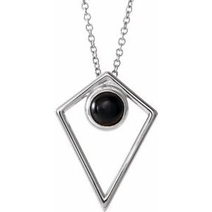 "Sterling Silver Onyx Cabochon Pyramid 16-18"" Necklace"