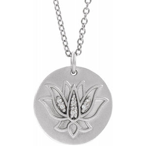 "14K White .025 CTW Diamond Lotus 16-18"" Necklace"