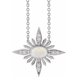 "14K White Ethiopian Opal & .08 CTW Diamond Celestial 16-18"" Necklace"