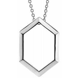 "Sterling Silver Geometric 16-18"" Necklace"