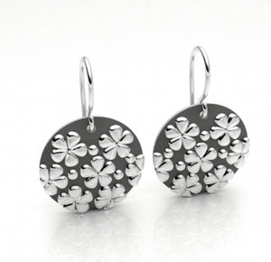 Small Flower Print Disc Earring