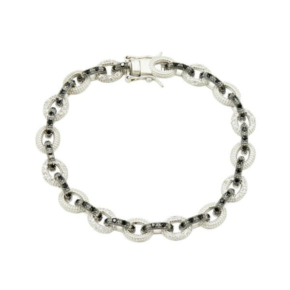 Industrial Finish Alt Pavé Small Link Bracelet