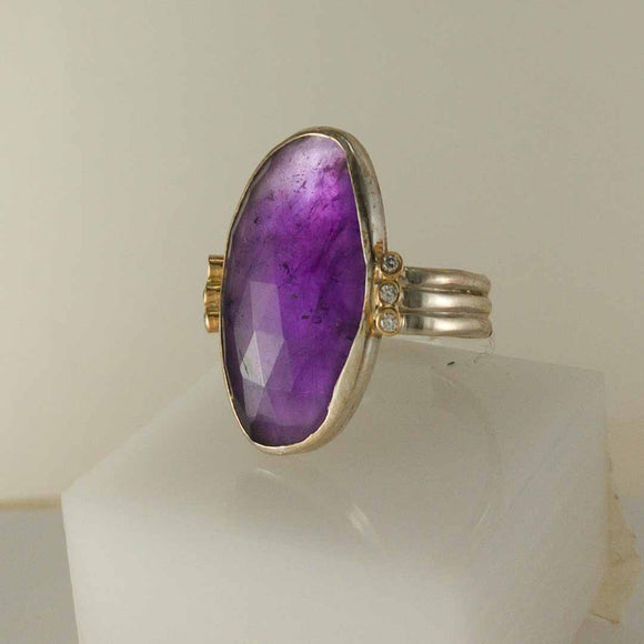 Amethyst and Accented Diamond Sterling Silver Ring