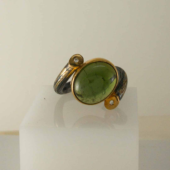 Oval Green Tourmaline Ring with Diamonds