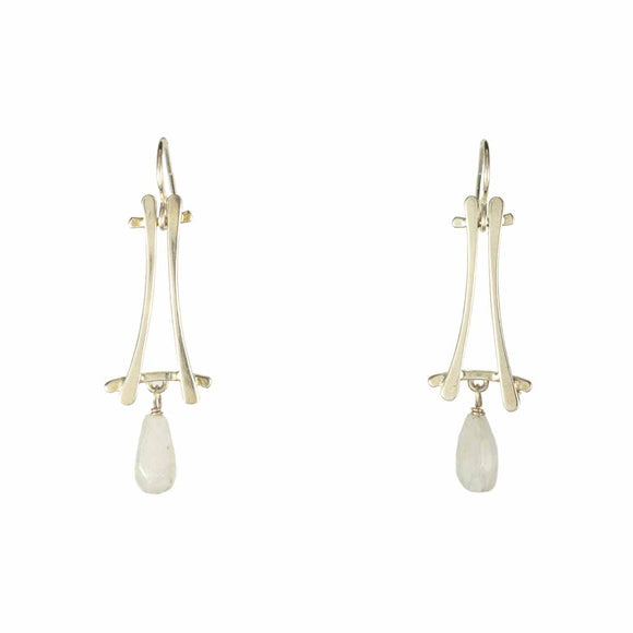 Pale Blue Moonstone A-frame Earrings