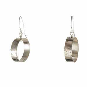 Small Silver Hand-Carved Hoop Earrings